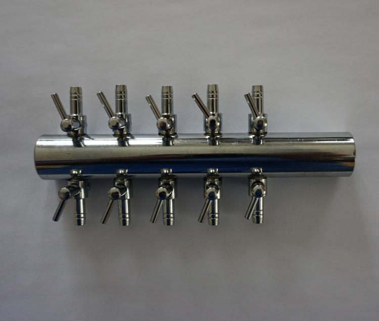 10 fach Luftverteiler Metall 4 / 6 mm Luftschlauch