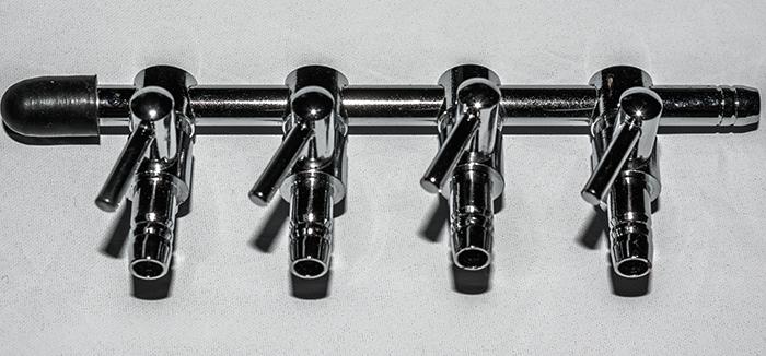 Mehrfach Luftverteiler Metall 4 / 6 mm Luftschlauch